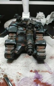 Sicaran Venator weathering and battle damage being applied