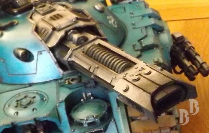 Weathering the Alpha Legion Glaive main gun