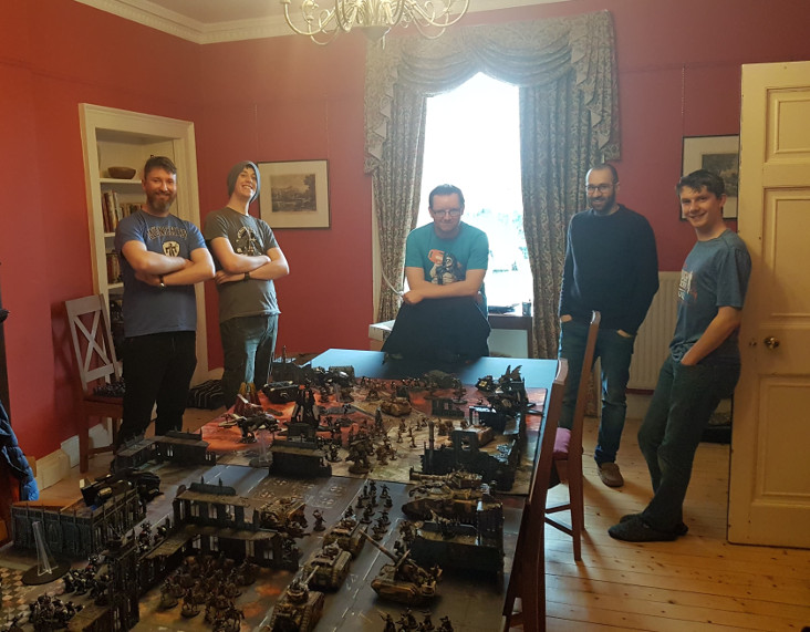 The guys set up a Warhammer 40k Display