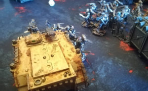 Reivers assaulting a Death Guard Rhino